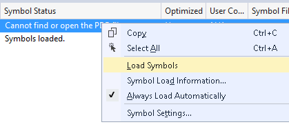 Load symbols in modules