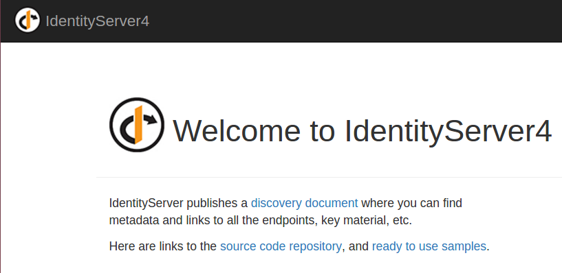 Identity Server4 welcome page